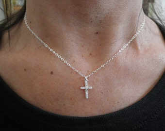 CZ  cross necklace on sterling silver chain