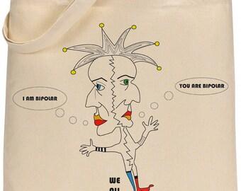 Natural shopper tote, Bipolar clown bag, cotton tote, shopping messenger, bag for life
