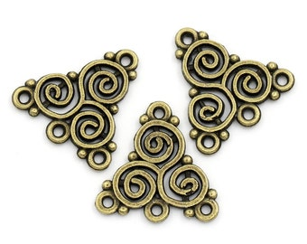 6 Antiqued Bronze Celtic Triskelion Knot Connectors