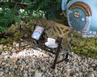 Fairy Garden Accessories - furniture - bench - fairy garden - book Alice's Adventures in Wonderland - alice in wonderland miniature book