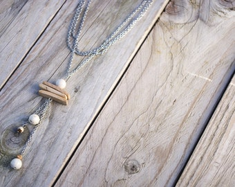 Long necklace/chain coconut/necklace with pendant/Jasper/fossil/spirit wood/wooden nature zen/natural/made/handmade gift for her