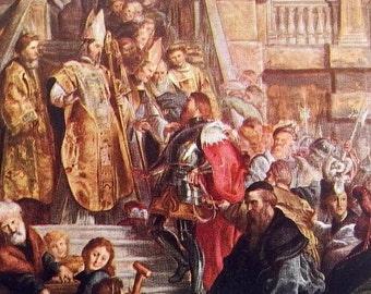The Conversion of Saint Bavo by Peter Paul Rubens - an Original, Vintage 1954 Frameable Art Print