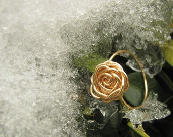 Gold Rose Ring, Flower Ring, Wire Wrapped Rose Ring, Rose Ring, Gold Ring, Tarnish Resistant Rose Ring