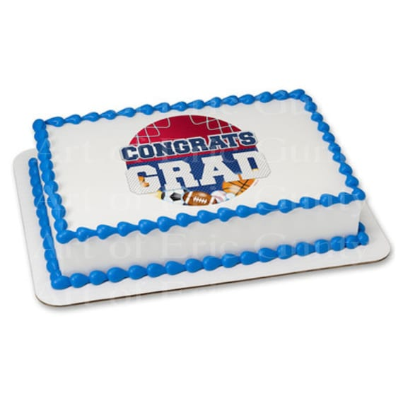 Congrats Grad Sports Graduation - Edible Cake and Cupcake Topper For Birthday's and Parties! - D22040