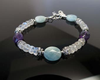 Aquamarine-Amethyst-Moonstone Bracelet, Multi Gemstones Jewelry In Sterling Silver, 7-8.5 Inches Length, Aquamarine Amethyst Bracelet