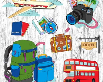 8 Traveling clipart, luggage clipart, passport clipart, airplane, tourist clipart, digital camera, compass, double-decker bus, scrapbooking