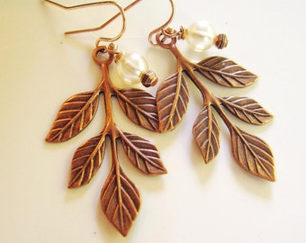 Rose Gold Earrings, Leaves, Botanical, Pearl, rustic, Woodland, Bohemian Style, Nature, Fall Leaves, Redpeonycreations