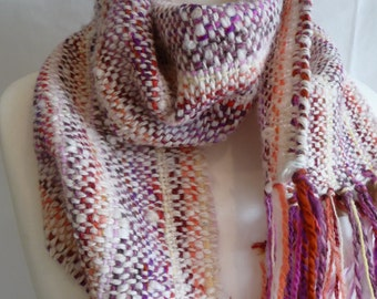 Handwoven scarf, made with handspun wool