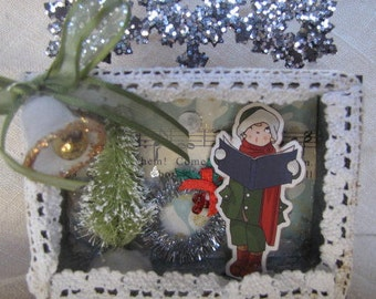 Vintage sparkly Christmas shrine mixed media
