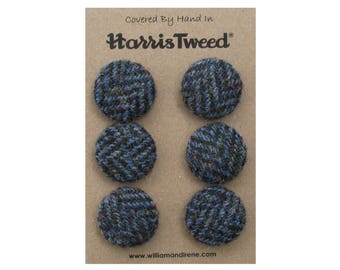 Harris Tweed Pure Wool Blue Glen Herringbone Handmade Covered Set of 6 Buttons 24mm Diameter