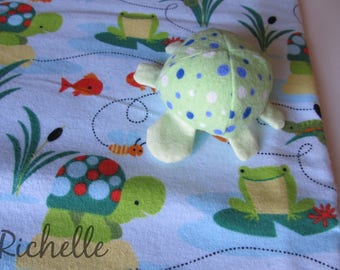 Turtle Blanket and Plush Toy Gift Set, Green Turtle Swaddle Blanket, Turtle Stuffed Animal Toy, Baby Shower Gift Idea