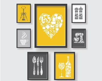 SET OF 7   Mustard Yellow Gray White Unique Kitchen Decor Collection,  Kitchen Wall Art