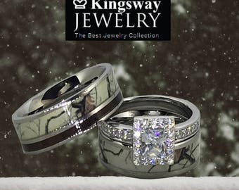 Beau Custom Engraved Snow Camo Wedding Ring Set For Him And Her Titanium  Stainless Steel Sterling Silver
