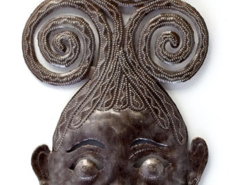 "Swirly Girl Mask Haitian Metal Art 7.5"" X 17.5"""