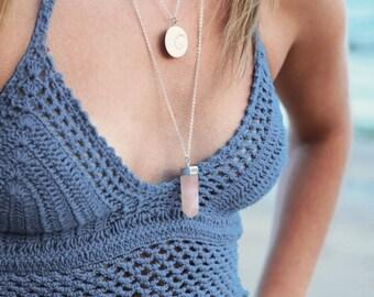 Rose Quartz Crystal Point necklace