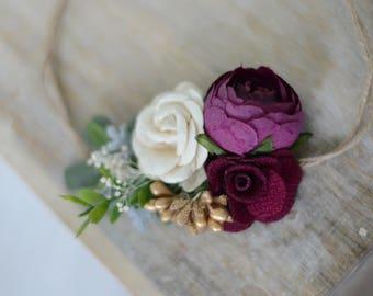 Flower headband, christmas headband, plum headband, baby headband, boho headband, flower crown, flower girl headband,boho wedding, girls hea