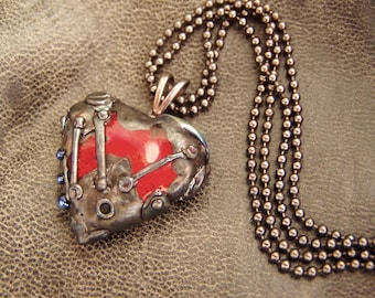 """Steampunk Glass Pendant """"Armor Of The Heart"""". Lampwork."""