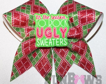 Ugly Sweater Christmas Glitter Cheer  Bow with a  3-D cutout  by FunBows !