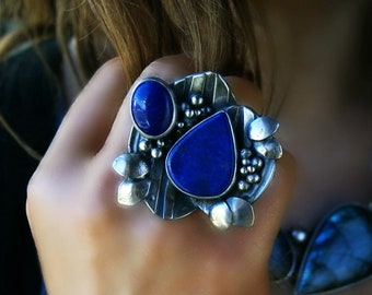The Flow of the Ocean - Lapis Lazuli Sterling Silver Ring