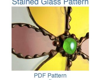 Stained Glass PDF Pattern - Hippie Flower Suncatcher Pattern INSTANT DOWNLOAD