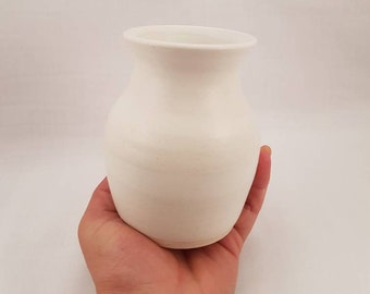 Hand Made Curvy White Small Vase