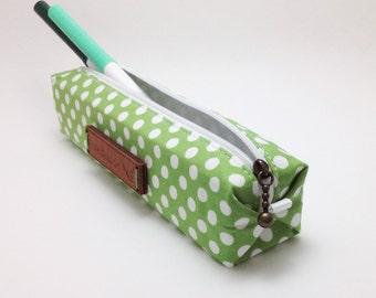 Green Pencil Case. Fabric Pencil Case. Pen Holder. Polka Dot Pencil Bag. Pencil Pouch. Boxy Pencil Case. Zipper Case. Make up Bag.