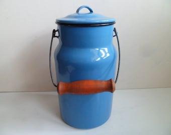 Soviet Vintage Milk Can Milk Pail,  Blue Enamel , Rustic Home Decor,  made in USSR.