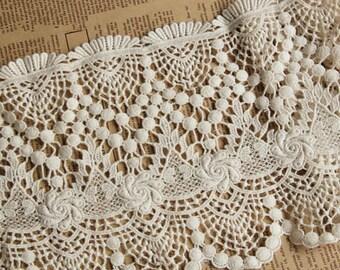 beige Vintage cotton lace trim,cotton skirt edge,Schiffli Lace,machine-made lace,Chemical Lace