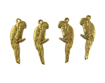 Brass Mirrored Parrot Charms- (8x) (V097)