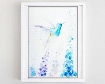 Hummingbird Watercolor Art, Original Artwork, Original Watercolor Painting, Hummingbird Art, Hummingbird Painting, Hummingbird Wall Art