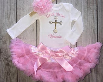 Personalized Baby Girl Baptism Outfit in Pink -  Baby Dedication Outfit - Christening Outfit - God Bless Christening Outfit