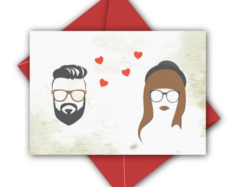 Hipster Wedding Card - Wedding Gift - Engagement Card - Engagement Gift - Anniversary Card. Valentine's Day Card