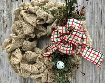 Christmas Burlap Wreath with Winter Greens, Pip Berries and Jingle Bells
