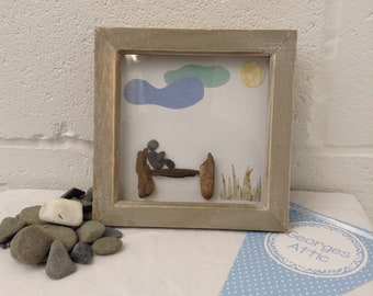 Time out, pebbles, handmade gift 6 X 6 ready to send