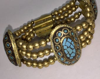 Brass Turquoise Bracelet
