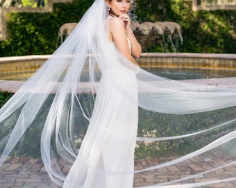 "Bride Cathedral veil 112"" wedding veil with Swarovski crystal rhinestones scattered throughout ""Skylar"""