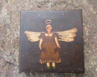 Primitive Country Miniature an Original Painting Angel Wings Collectable item Dollhouse