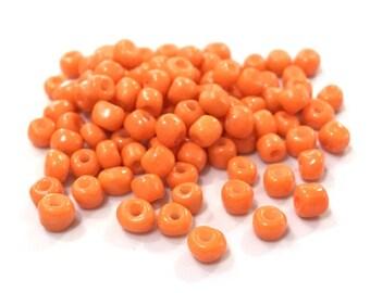 ♥ 10 grams seed beads glass orange 4mm♥
