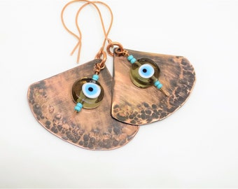 Rustic copper earrings , evil eye earrings , copper statement earrings , large fan earrings