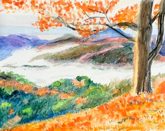 Autumn Scenery Watercolor painting