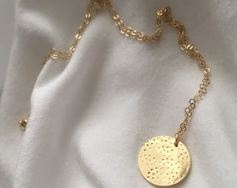 NEA - Gold Coin Necklace | Hammered Coin Necklace | Long Hammered Coin Pendant Necklace | Circle Pendant | Layered Necklace | Medallion disc
