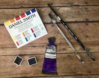 Daniel Smith Fine Art WATERCOLOR hand-poured half pans-PURPLES