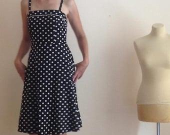 Black Polka Dot Sundress Knee Length A Line Full Medium