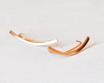 Minimalist Rose Gold Ear Climbers, Simple Gold Filled Ear Cuff, Rose Gold Ear Crawlers,  Rose Gold Bar Earring