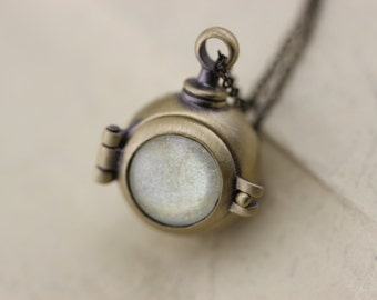 antique brass locket necklace with moonstone it can open Christmas gifts C248L-14_B