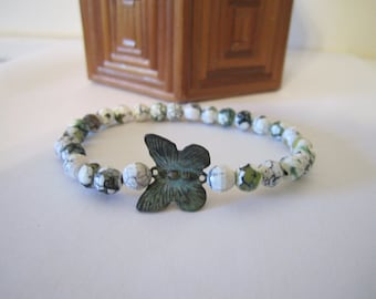 Stretch Bracelet - Fire Agate with Butterfly