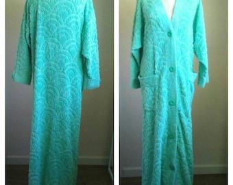 Vintage chenille bathrobe / Stan Herman for Herbcraft / aqua turquoise fuzzy rainbow design full length robe, womens small medium