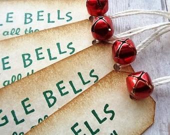 Christmas Gift Tags Rustic Vintage Style Jingle Bells