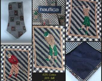 golfer tie, men's golf tie, unique tie, vintage necktie, trendy necktie,  men's necktie,    # T 25