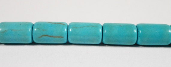 """Turquoise Howlite Stone Beads 9x6mm Blue Howlite Cylinder Beads, Gemstone Barrel Beads, Stone Tube Beads on a 7 1/4"""" Strand with 19 Beads"""